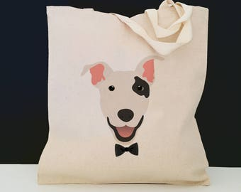 Personalized Bull Terrier Tote Bag (FREE SHIPPING), 100% Cotton Canvas Dog Tote Bag, Bull Terrier Tote, Custom Dog Tote, Bull Terrier Bag