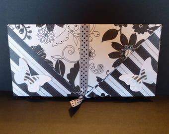 Black and white envelope for card or check example