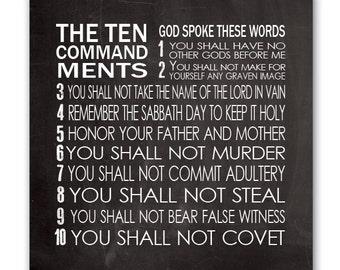 Ten Commandments Canvas Wall Art