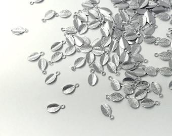 10 Pcs Silver Leaf Charm Leaves Necklace Charm Bracelet Charm Pendant Dainty Charm Handstamp MignonandMignon Best Seller 10PL-S