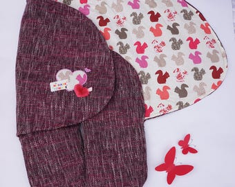 Adaptable nomadic cover car seat and stroller ~ pink Tweed and squirrels ~ cover girl ~ custom babynomade cover