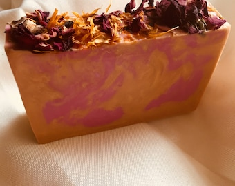 Handcrafted glycerin soap with shea, mango, and cocoa butters, with dried flowers on top 4.5oz