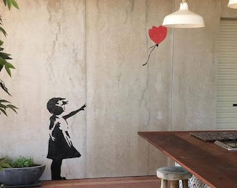 Banksy Balloon Girl STENCIL, HUGE Life size Wall ART Stencil, Banksy replica Painting Stencil, Interior or Exterior Wall Decor