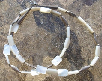 Mother of Pearl Necklace with Sterling Spacers