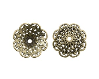 7 mm x 19mm Antique Brass Fancy Filigree Tibetan-style Bead Caps - 10 Pieces - 0303OXBR