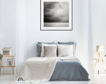 Storm Photography Art Print, Storm Cloud Art Print, Ocean Photography Wall Decor, Black and White Home Decor, Gift for Him, Storm Chasing