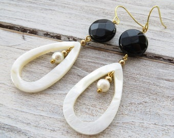 White mother of pearl earrings, carved drop earrings, black onyx earrings, dangle earrings, gemstone jewelry, pearl earrings, gift for her