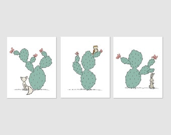 Southwest Nursery Art -- Cactus Nursery Art -- Set of 3 Prints -- Fox Owl Bunny Art -- Kids Wall Art