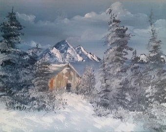 "16""x20"", ""Winter Cabin"""
