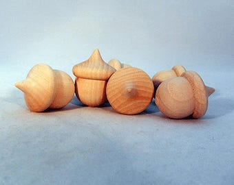Wooden Acorn, SET OF 12, Natural, Craft Supplies, Wood Acorn, Mini Acorn, Sorting Toy, Montessori Toys, Wooden Toys, Transfer Toy