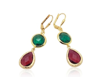 Ruby and emerald earrings, Ruby emerald teardrop earrings, Christmas colours gift for girlfriend, Gift for mom, May July birthstone earrings