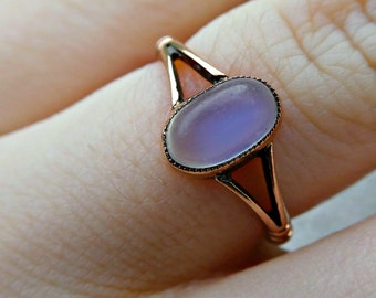 Antique Moonstone Victorian 9ct Gold Ring, Rose Gold Moonstone Art Deco Ring Size 5 J, Moonstone Engagement Ring