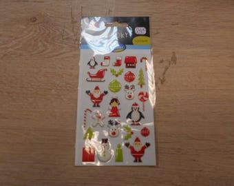 set of 3 d Christmas theme sticker