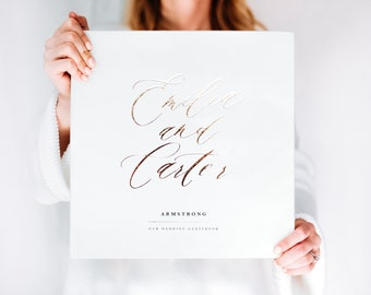 Fine Art Wedding Guest Book - Real Foil Calligraphy Guest Book, Wedding Gift Idea, Personalized Wedding Album, Hardcover Wedding