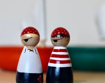 Pirate peg doll girl and boy