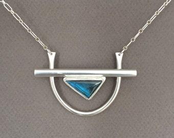 Labradorite Statement Necklace- Triangle