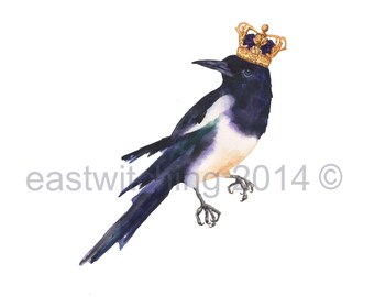 MAGPIE Watercolor Print, magpie, magpie painting, bird painting