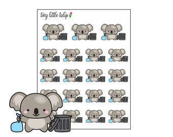 Planner Stickers Koala Take Trash Out