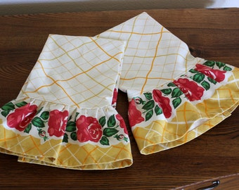Ruffled Tea Towel - Retro Granny's Rose Print