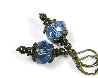 Victorian Style Czech Glass Earrings, Light Sapphire Blue Dangle Earrings, Sparkling Earrings, Gift Ideas for Her, Formal Wear, Affordable
