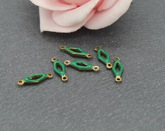 x 10 small connectors made raw brass and enamel colors to choose from 13 x 4 mm