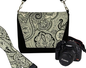 SET Dslr Camera Bag and Dslr Camera Strap, Camera Bag Slr and Camera Neck Strap, black paisley onyx MTO
