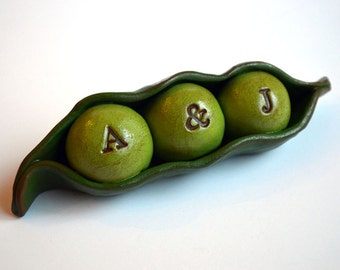 Wedding cake topper...Peas In a Pod... Personalized, custom initials...Made to order