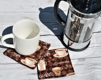 Fabric Cloth Coasters - Mug Rug - Coffee Theme - Housewarming Gift Decoration - Kitchen Linens - Hostess Gift -