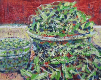 peas, alla prima, daily painting, painterly, still life, Larry Lerew, food painting, kitchen painting, loose, impressionism, vegetable art