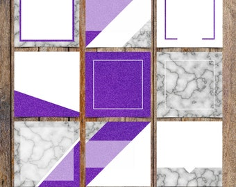 Marble and Ultra Violet Glitter Instagram Template Pack | Instaquotes, Social Media Design, Social Branding | Instant Download