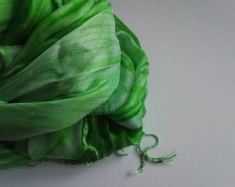 Silk scarve with hues of green and white