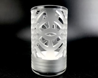 Candle Holder - Hand Made Carved Borosilicate Glass