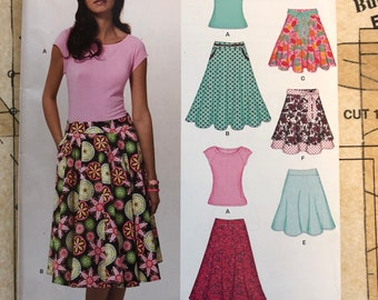 UNCUT Knit Top and Skirt Sewing Pattern Size 10 12 14 16 18 20 22 New Look 6899 Stretch Knit Fabrics Flared A-Line Skirt Raglan Sleeves Easy