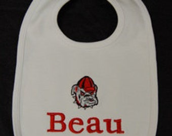 Embroidered / personalized / monogrammed baby bib with bulldog motif and name
