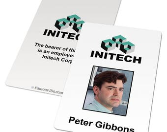 Custom ID card: Initech badge, Office Space movie, funny office gift ideas