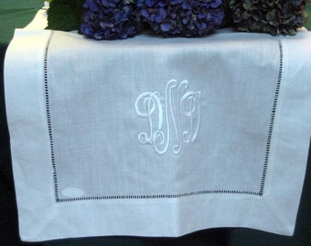 White Linen Table Runner 20x120 Hemstitched