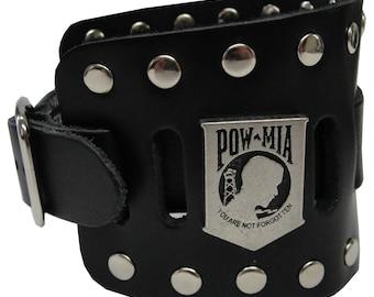 POW MIA Concho Handmade Black Buckle Wide Genuine Leather Watchband Military Biker Rocker U.S.A. NYC Cuff Band Wristband Bracelet