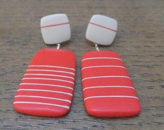 Large resin rectangle stripy earrings