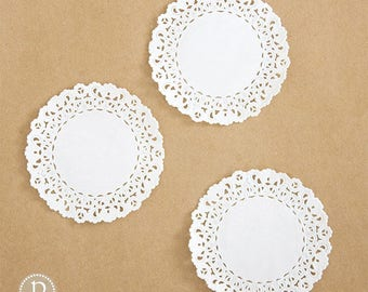 """4"""" Lace White Round Paper Doilies"""