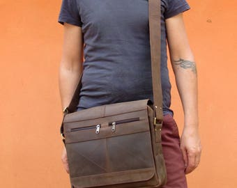 Rugged Leather Messenger Bag Crossbody Satchel Shoulder Bag for Men and Women * Free Shipping*
