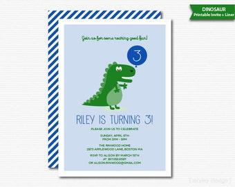 Dinosaur Invitation Dinosaur Birthday Invite Dinosaur Party Printable Boys BIrthday Roar Blue Green Digital Dino Invitation Birthday Invite