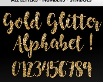 Gold Glitter Alphabet Clipart || Glitter Alphabet Clip Art, Gold Glitter Letters, Cursive, Gold Alphabet and Numbers/ INSTANT DOWNLOAD