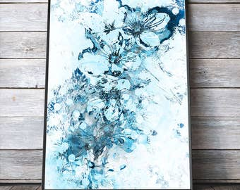 Abstract Blue Cherry Blossom Painting PRINTABLE Art