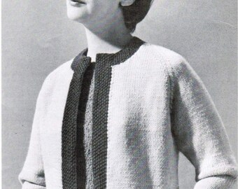 Women's Bordered Raglan Jacket Knitting Pattern PDF / Sizes 14 16 18 20 / Raglan cardigan with border pattern / Vintage mad men sweater