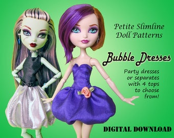 Bubble Dress Doll Clothes PDF Sewing Pattern for Petite Slimline girls: High, Ever After, Monster, Dal, obitsu, Super Hero
