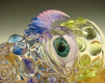 Hand blown Eye Shot Glass Flameworked Art Horny fumed creature eye by Eli Mazet (ready to ship)