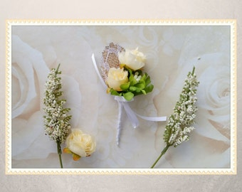 Cream boutonniere, groomsmen boutonniere, rose boutonniere, grooms boutonniere, rustic wedding, barn wedding, winter wedding, handmade