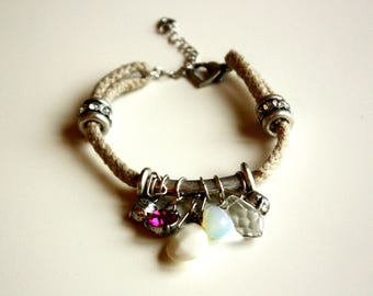 rope charm aurora bracelet,silver charm bracelet