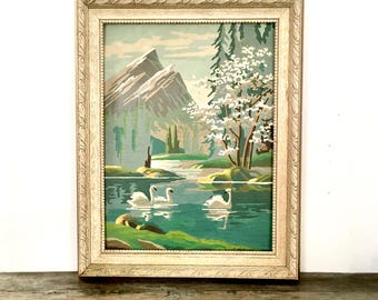 Vintage Paint by Number Oil Painting / Swans Trees Water Mountain scene / framed Paint by number