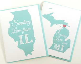 Custom State Gift. Sending Love from Your State Card. Made in the Midwest. Miss You Card. Long Distance Card. Personalized Card. Love Card